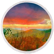 October Sunrise Painting On The Blue Ridge Parkway Round Beach Towel