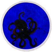 Octopus Black And Blue Round Beach Towel by Stefanie Forck