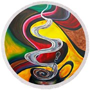 Ode To Coffee... Round Beach Towel
