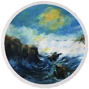 Off Shore Breakers At Dusk Round Beach Towel