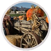 Round Beach Towel featuring the photograph Off To Market by Michael Gordon