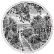 Round Beach Towel featuring the photograph Off To The Beach by Howard Salmon