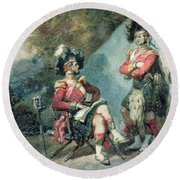 Officers Of The 79th Highlanders At Chobham Camp In 1853 Round Beach Towel
