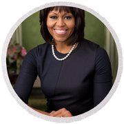 Round Beach Towel featuring the photograph Official Portrait Of First Lady Michelle Obama by Celestial Images