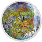 Round Beach Towel featuring the painting Offspring Of Tiamat - The Fomorii Union by Otto Rapp
