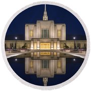 Ogden Temple Reflection Round Beach Towel by Dustin  LeFevre