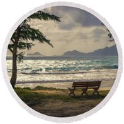 Round Beach Towel featuring the photograph Oahu Sunrise by Steven Sparks
