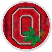 Ohio State Buckeyes On Canvas Round Beach Towel by Dan Sproul