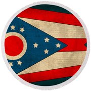 Ohio State Flag Art On Worn Canvas Round Beach Towel by Design Turnpike
