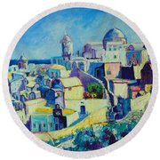 Round Beach Towel featuring the painting OIA by Ana Maria Edulescu