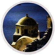 Oia Greece Round Beach Towel by Tom Prendergast