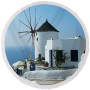 Oia Windmills Round Beach Towel