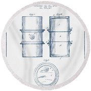 Oil Drum Patent Drawing From 1905 -  Blue Ink Round Beach Towel