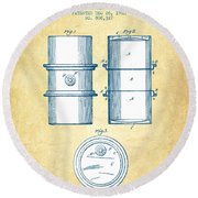 Oil Drum Patent Drawing From 1905 - Vintage Paper Round Beach Towel by Aged Pixel