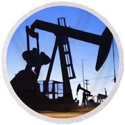 Oil Fields Round Beach Towel