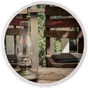 Round Beach Towel featuring the digital art Oil Lamp 2 by Gandz Photography