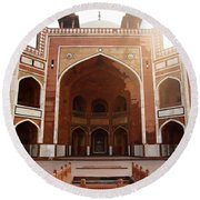 Oil Painting - Cross Section Of Humayun Tomb Round Beach Towel