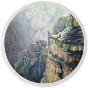Oil Painting - Majestic Canyon Round Beach Towel