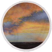 Oil Painting When The Sky Turns Color Round Beach Towel