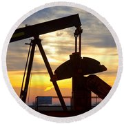 Oil Pump Sunrise Round Beach Towel