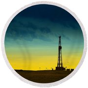 Oil Rig In The Spring Round Beach Towel
