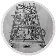 Oil Rig Patent Drawing Round Beach Towel