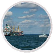 Round Beach Towel featuring the photograph Oil Tanker And Lobster Boat by Jane Luxton