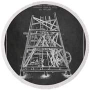 Oil Well Rig Patent From 1893 - Dark Round Beach Towel by Aged Pixel
