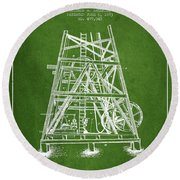 Oil Well Rig Patent From 1893 - Green Round Beach Towel by Aged Pixel