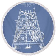 Oil Well Rig Patent From 1893 - Light Blue Round Beach Towel by Aged Pixel