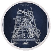 Oil Well Rig Patent From 1893 - Navy Blue Round Beach Towel by Aged Pixel