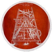 Oil Well Rig Patent From 1893 - Red Round Beach Towel by Aged Pixel