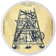 Oil Well Rig Patent From 1893 - Vintage Round Beach Towel by Aged Pixel