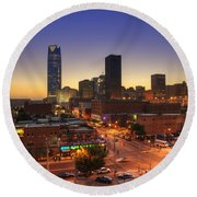 Oklahoma City Nights Round Beach Towel
