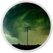 Round Beach Towel featuring the photograph Oklahoma Mesocyclone by Ed Sweeney