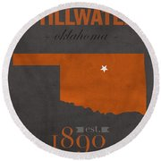 Oklahoma State University Cowboys Stillwater College Town State Map Poster Series No 084 Round Beach Towel