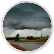 Round Beach Towel featuring the photograph Oklahoma Wall Cloud by Ed Sweeney