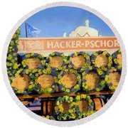 Round Beach Towel featuring the painting Oktoberfest by Lynne Reichhart