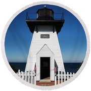 Olcott Ny Lighthouse - Replica Round Beach Towel by John Freidenberg