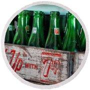 Old 7 Up Bottles Round Beach Towel by Thomas Woolworth