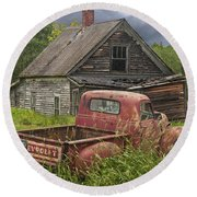 Old Abandoned Homestead And Truck Round Beach Towel by Randall Nyhof