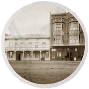 Old And New Salinas Hotel Was On West Market Street Circa 1885 Round Beach Towel