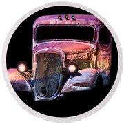 Round Beach Towel featuring the photograph Old Antique Classic Car by Gunter Nezhoda