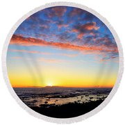Round Beach Towel featuring the photograph Old A's Panorama by David Lawson