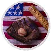 Old Ball And Glove With Bat Round Beach Towel