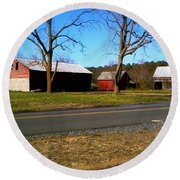 Round Beach Towel featuring the photograph Old Barn by Amazing Photographs AKA Christian Wilson