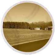 Round Beach Towel featuring the photograph Old Barn And Farm Field In Sepia by Amazing Photographs AKA Christian Wilson