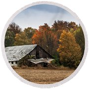 Round Beach Towel featuring the photograph Old Barn by Debbie Green