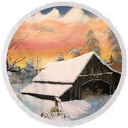 Round Beach Towel featuring the painting Old Barn Guardian by Sharon Duguay