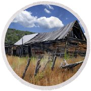 Old Barn Las Trampas New Mexico Round Beach Towel